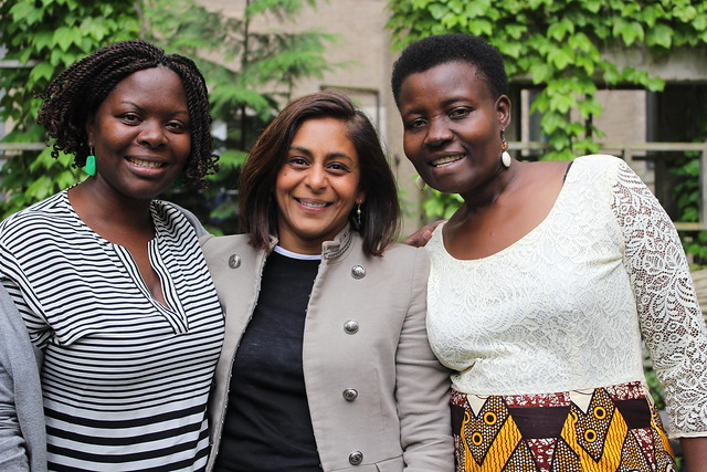 Left to Right: Brenda Boonabaana, Yvonne Pinto, and Peace Muusimenta during a 2017 GREAT curriculum development workshop at Cornell University.