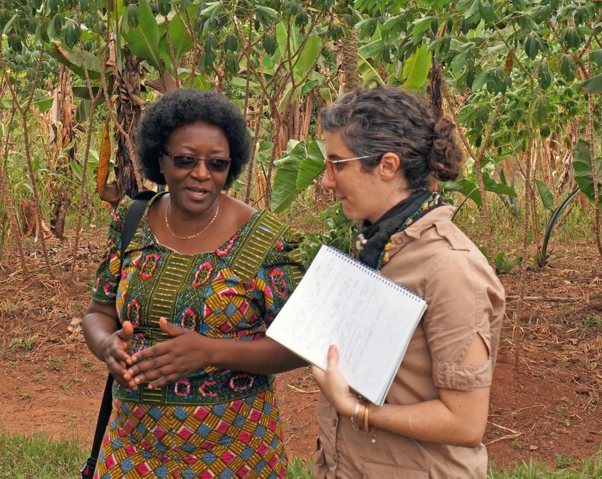 Margaret Mangheni (left), of Makerere University, and Hale Ann Tufan (right), of Cornell University, co-leaders of GREAT, discuss curriculum in Uganda.