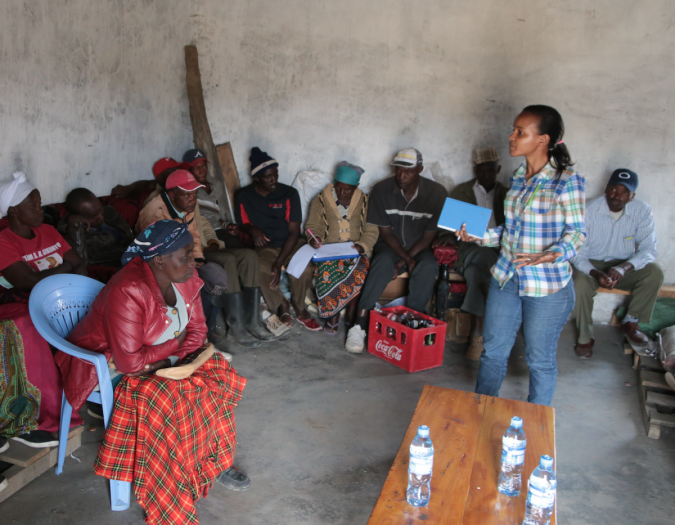 Bernice Waweru leads a group discussion about seed access and variety adoption with farmers living near Njoro, Kenya